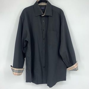 Burberry Black Button Down Dress Shirt Nova Check